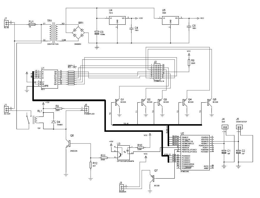 PCB exposure box Based on ATmega8 AVR microcontroller - schematic