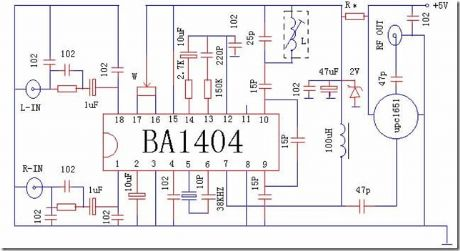 BA1404 Transmitter with UPC1651RF Amplifier - schematic