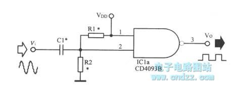 Sine wave-square wave converter circuit - schematic