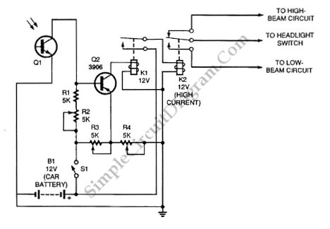 Automatic Headlight Dimmer Safe Yourself and Others - schematic