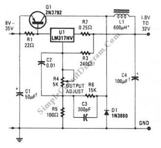 LM317 Low-Cost 3A Switching Regulator - schematic