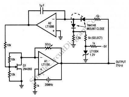 Electronic Gain Control in Quartz-Stabilized Oscillator - schematic