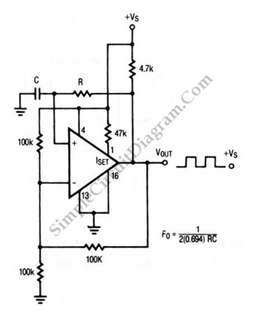 Square Wave Oscillator using Comparator/Op-Amp - schematic