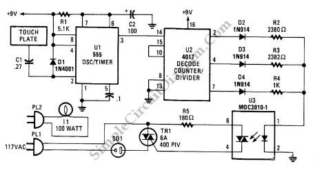Touch-Controlled Lamp Dimmer - schematic