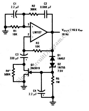 Wien-Bridge Sine-Wave Oscillator - schematic