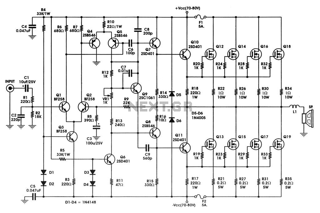 Schemi Elettrici Amplificatori Audio Con N : Mosfet circuit page other circuits next gr