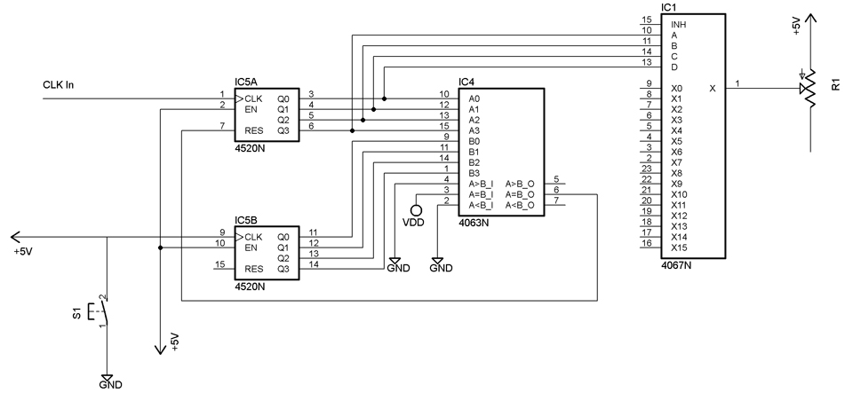 16 Step Analog Sequencer circuit - schematic