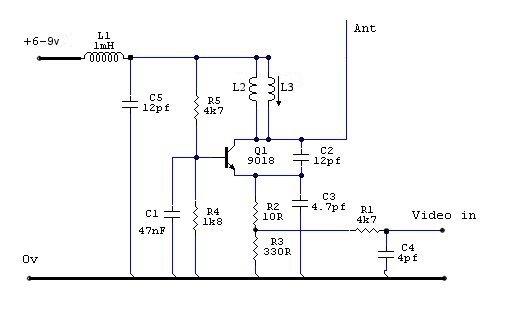 a miniature uhf video transmitter - schematic