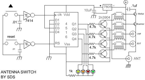The VHF antenna switch - schematic