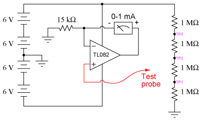 Fundamentals of Electrical Engineering and High-impedance voltmeter - schematic