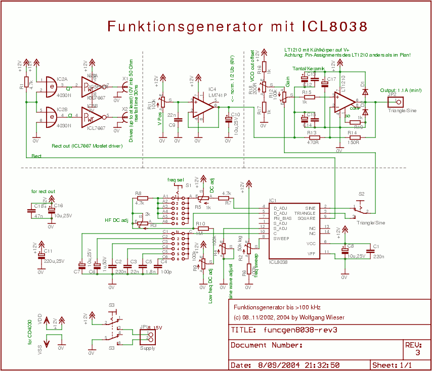 ICL8038-based Oscillator - schematic