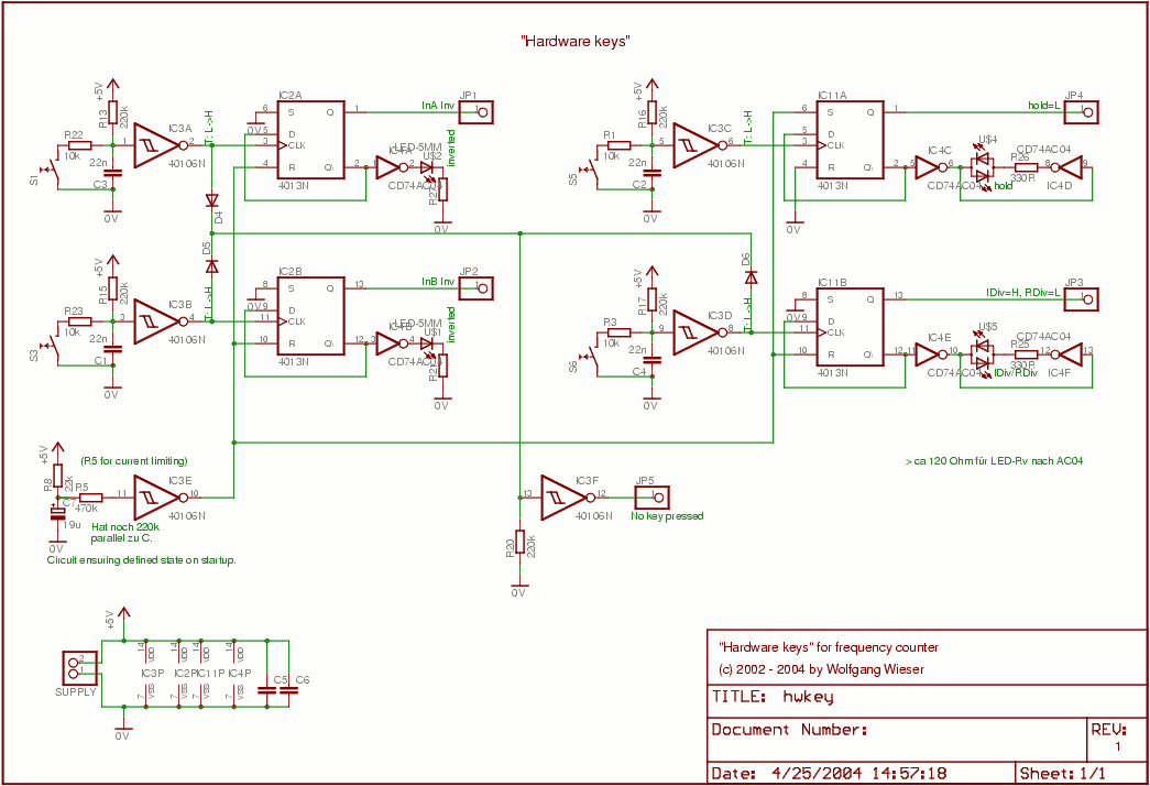 Frequency counter hardware keys schematic