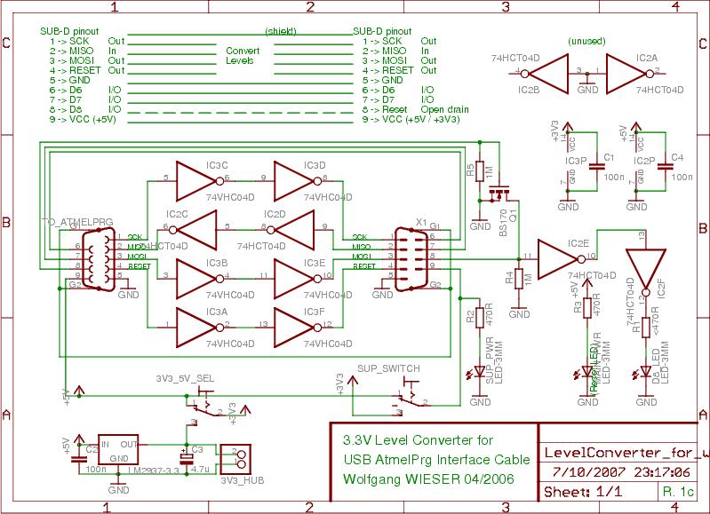 USB-Atmel External 3.3V Level Converter - schematic