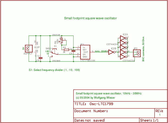 Small Footprint Square Wave Oscillator - schematic
