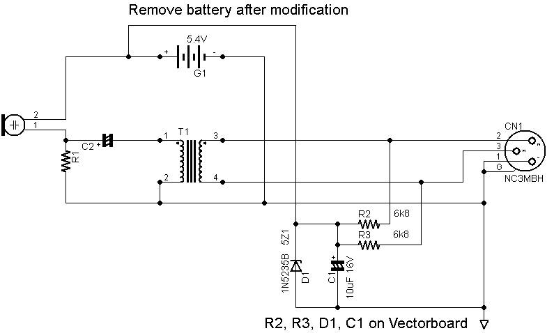 Converting an EV PL-76 or 1776 microphone to p48 powering - schematic