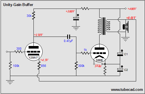 Tube-based Buffer amplifier - schematic