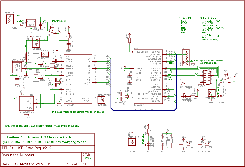 USB-Atmel Interface Cable Circuit - schematic