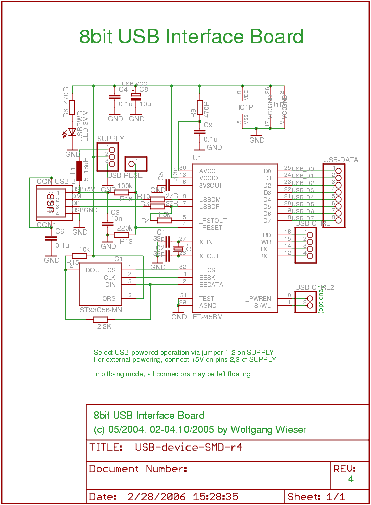 USB 8bit Interface Board - schematic