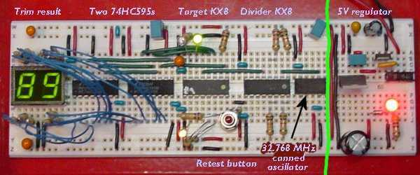 Trimming the Internal Clock Generator on the 68HC908KX8 Microcontroller - schematic