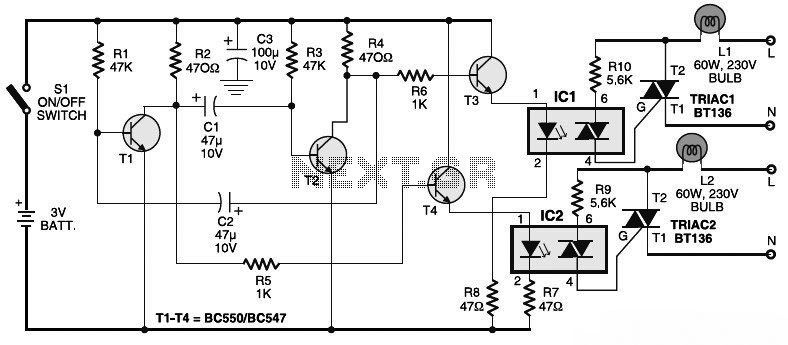 Electronic dimmer circuit touch light