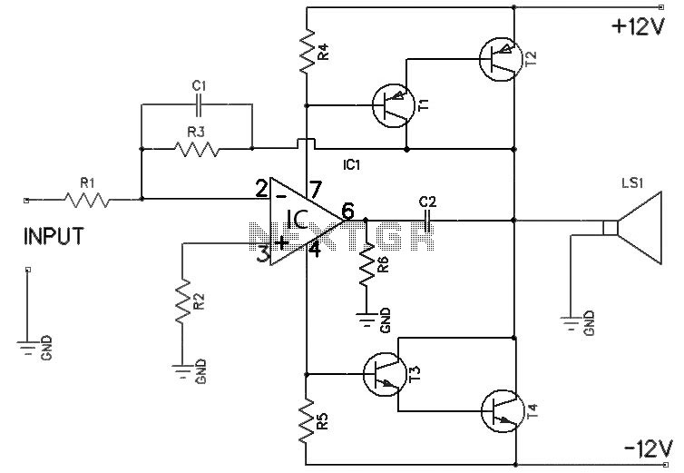 small 12v audio amplifier circuit under repository-circuits