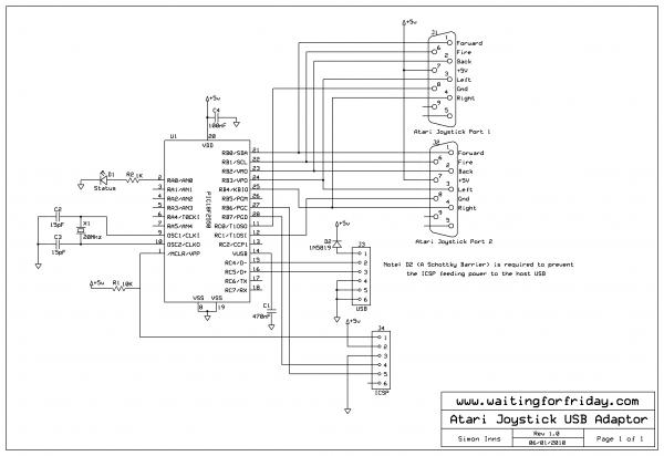 Atari Joystick USB Adaptor - schematic