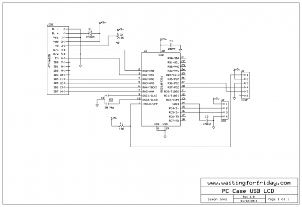 PC Case USB LCD - schematic