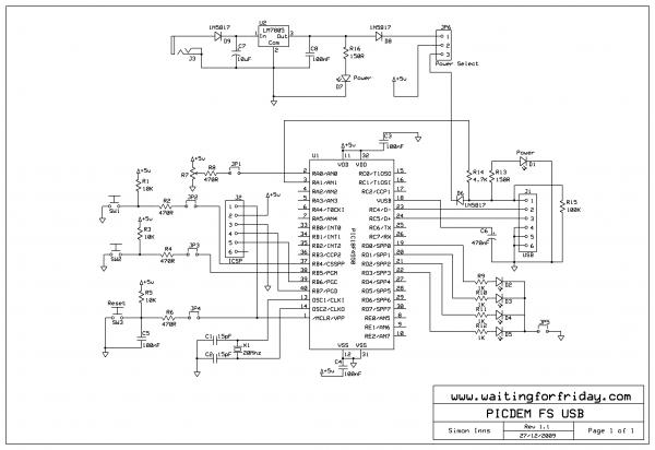 PIC USB Development Board - schematic