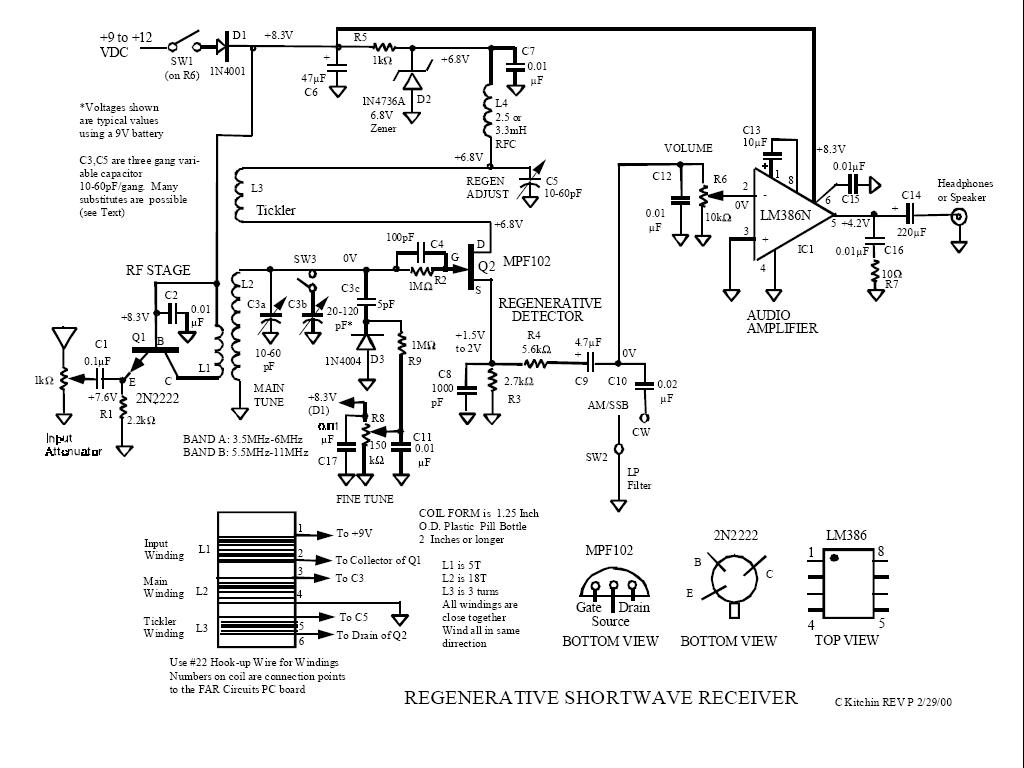 W3HWJ Radio Receiver Projects - schematic