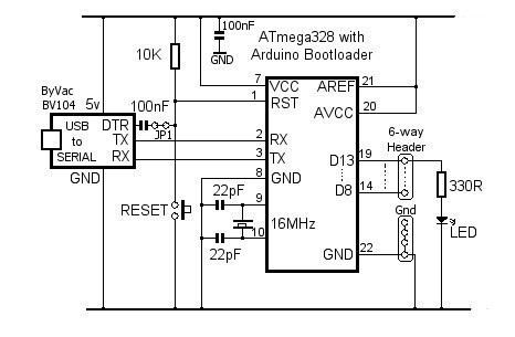 Stand-alone Arduino - schematic