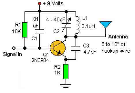 RF Oscillator Circuit 2N3904 L6324 on rf transmitter circuit diagram
