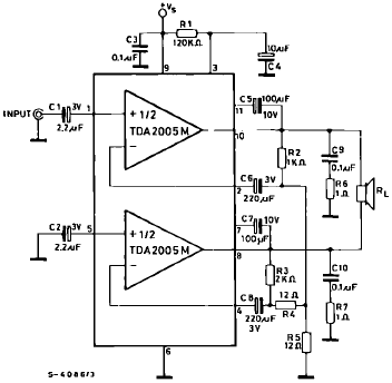 20W Car Radio Power Amplifier using TDA2005 - schematic