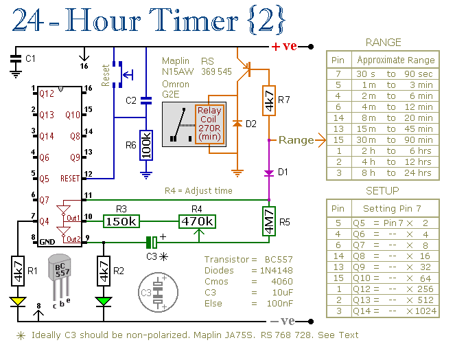 Two Simple 24-Hour Timer Circuit Schematics - schematic