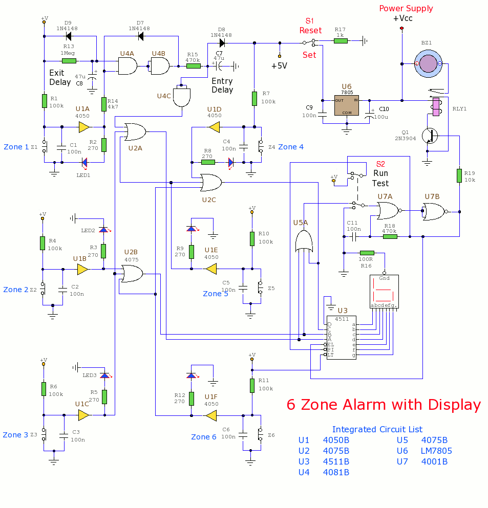 Alarm and Security Circuits - schematic