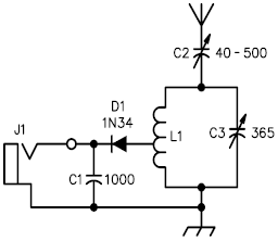 Basic Crystal Radio ReceiverCircuit by Elmer G. Osterhoudt - schematic
