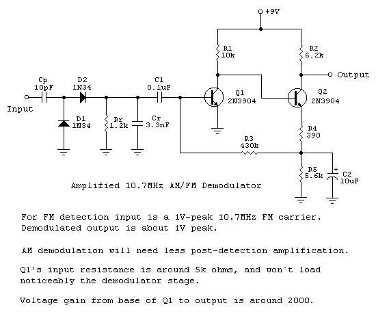 Diode Charge Pump AM-FM Demodulators - schematic