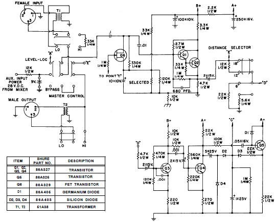 SHURE Model M62 Simple Audio Level Controller Circuit Design