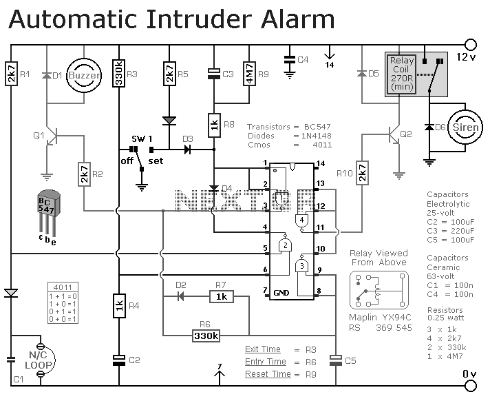 automatic intruder alarm circuit under repository-circuits