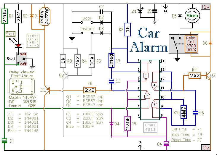 How To Build A Simple Car Alarm And Immobilizer - schematic