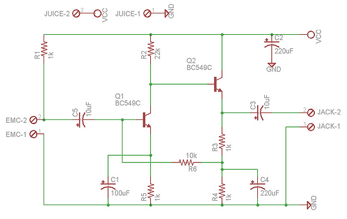 electret microphone amplifier - schematic