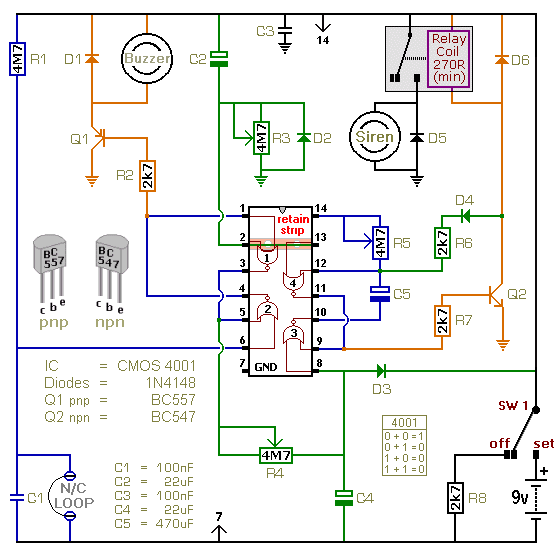 A Battery Powered Burglar Alarm With A Timed Siren Cut-Off - schematic