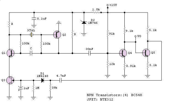A Low-Frequency Crystal Controlled Oscillator - schematic