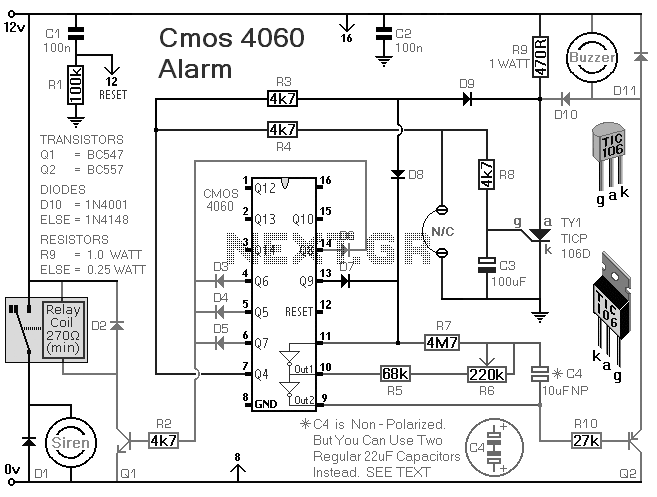 How To Build A Burglar Alarm Using A Cmos 4060 - schematic