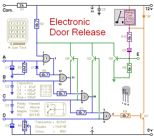 How To Build A Keypad-Operated Door-Lock Release - schematic