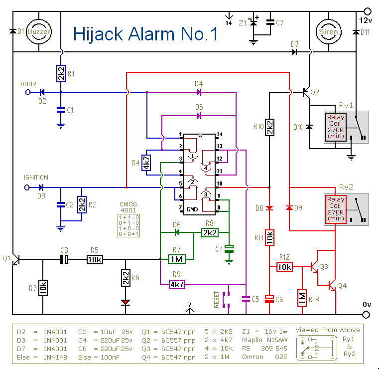 How To Build An Anti-Hijack Vehicle Alarm - schematic
