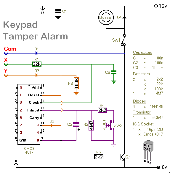 How To Build A Simple Keypad Switch With A Tamper Alarm - schematic