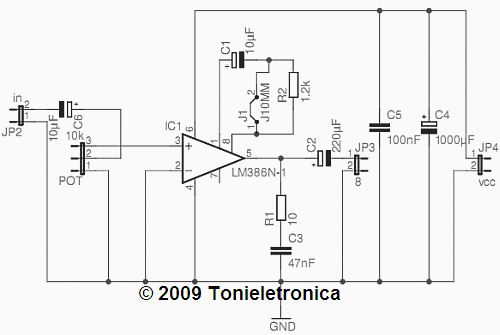 Circuit audio power amplifier circuit lm386 with pcb for 800 mW - schematic