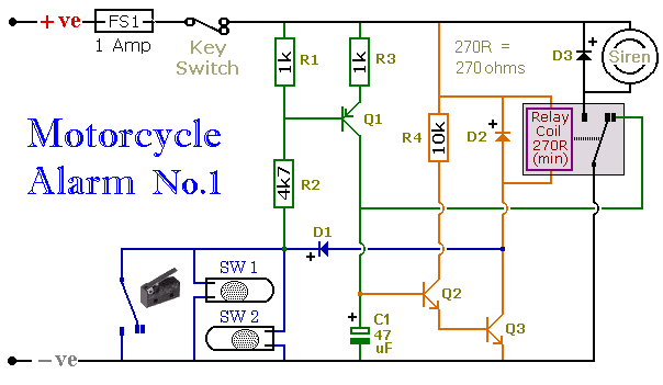 Motorcycle Alarm No.1 - Construction Guide - schematic