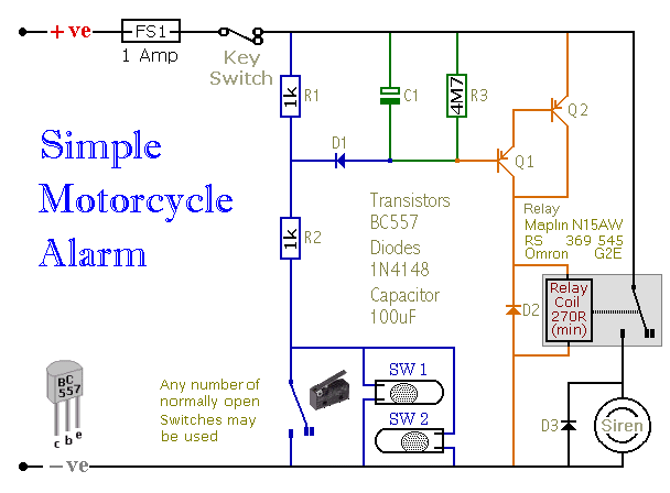 Simple Two-Transistor Motorcycle Alarm - schematic