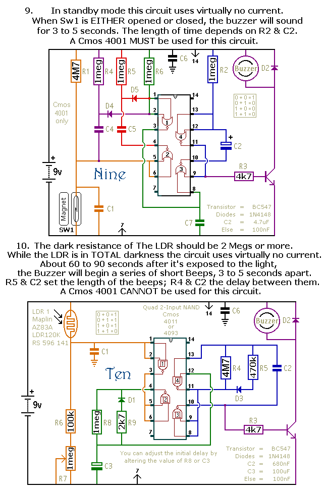 A Dozen Small Battery-Powered Alarm Projects - schematic